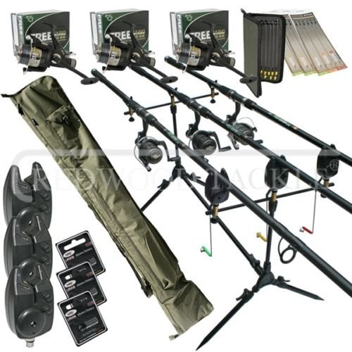 Full Carp fishing Set Up Complete 3 x Rods Reels Alarms 3+3 Holdall+Rigs & Batteries