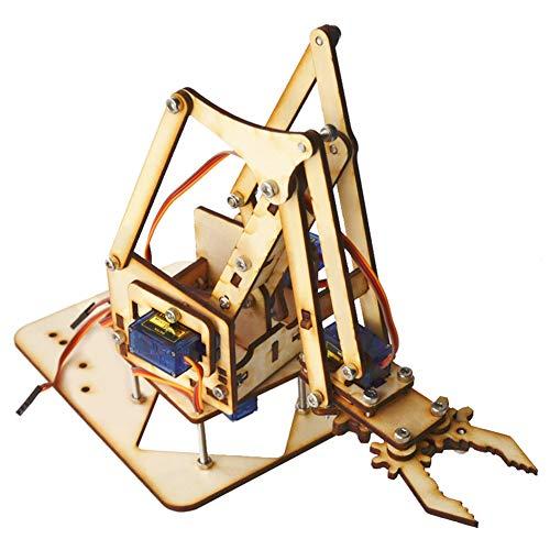 Brazo robot, brazo mecánico robótico de madera de 4 DOF SG90 Servo con 4 grados de libertad, brazo mecánico con abrazadera de robot con garra de robot para Arduino Raspberry Pi SNAM1500