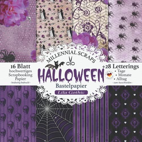 Halloween Bastelpapier Lila Gothic: Scrapbooking Papier & Zubehör I Motivpapier zum Ausschneiden I Mit Letterings I Junk Journal Dekor I Geschenk für Bastelfreunde I Karten Basteln DIY