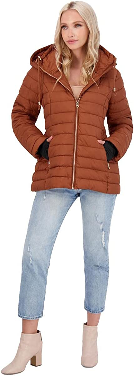 Jessica Simpson Women's Quilted Packable Puffer Coat with Drawstring Hood