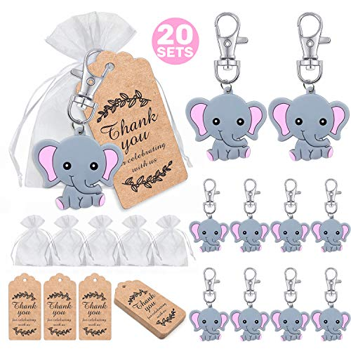 MOVINPE 20 Sets Baby Shower Return Favors for Guests, Pink Baby Elephant Keychains + Organza Bags + Thank You Kraft Tags for Elephant Theme Party Favors, Girls Kids Birthday Party Supplies