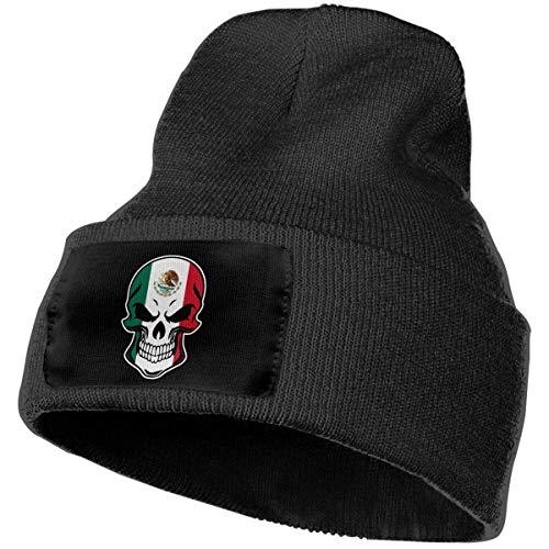 AEMAPE Gorra de Lana Diaria para Hombres y Mujeres, Gorra de esquí Skull-1 con Bandera de México