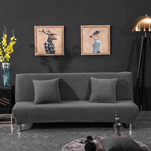 XCVBSlaapbank Sofa Cover Pluche slaapbankhoes Solid All-inclusive hoes voor slaapbank zonder armleuning Bankhoezen voor vouwen, grijs