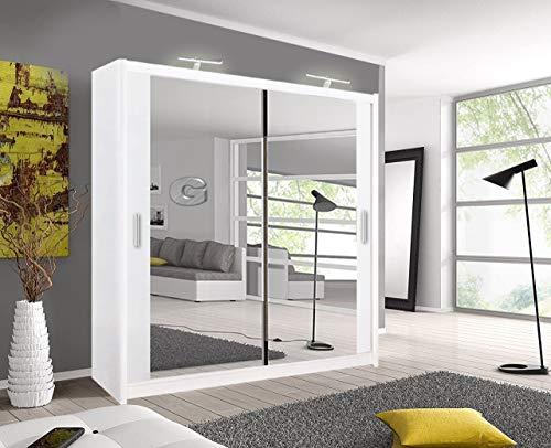A.C. Milan Modern Double Mirror sliding door wardrobe with LED Light Width 100cm/120cm/150cm/180cm/203cm/250cm (203, White)