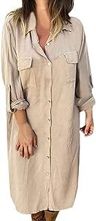 TIANMI Women's Buttoned Long-Sleeved Shirt Dress Solid Color Loose Ladies Fashion Dress Autumn Plus Size Dresses