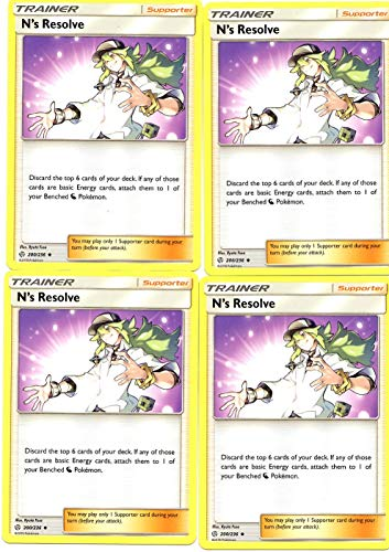 Pokemon Trainer Set - N's Resolve 200/236 - Sun Moon Cosmic Eclipse - 4 Supporter Card Lot