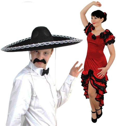 ILOVEFANCYDRESS® Mexikaner Spanische Mariarchi & Salsa Tänzerin Kostüme – Damen rotes Rüschen Gummikleid + Rosenhaar | Herren Schwarz Sombrero + Fliege + Schnurrbart (Größe S – XL)