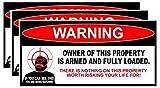 CELYCASY 3 pegatinas de advertencia armadas de propietario de la segunda enmienda arma arma de fuego 6 pulgadas de largo