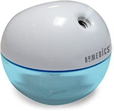HoMedics Personal Ultrasonic Humidifier | 200 ML Reservoir, 4 Hour Runtime, Travel Size, Single Touch Operation, Whisper-Quiet | Includes AC & USB Adaptors, BONUS- 3 FREE WICK FILTERS