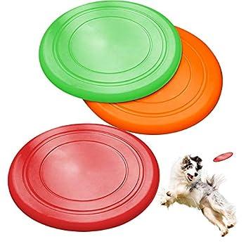 ZoneYan Disque Chien 3 Pièces Frisbees pour Chien, Frisbee Caoutchouc Naturel, Frisbee Souple, Frisbee Chien Resistant and Flottant, pour Lancer de Chien, Formation, Jouer et Attraper