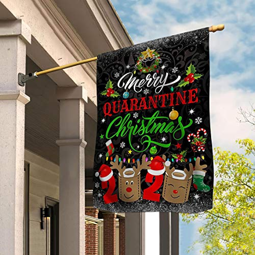 Tinesa Christmas Flag, Merry Quarantine Christmas Flag, Christmas Social Distancing Flag, Christmas Quarantine Yard Flag House Garden Flag (House Flag 29.5'x39.5')