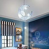 SOOTOP Lampade a Sospensione a Forma di Stella di Luna Luna Creativa E Stelle a Led Lampada a Sospensione a Led Fata Plafoniera Illuminazione per Camerette Lampade da Camera da Letto