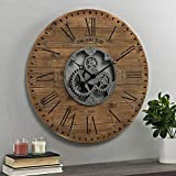 FirsTime & Co. Brown Shiplap Gears Farmhouse Wall Clock, American Designed, Brown, 27 x 2 x 27 inches