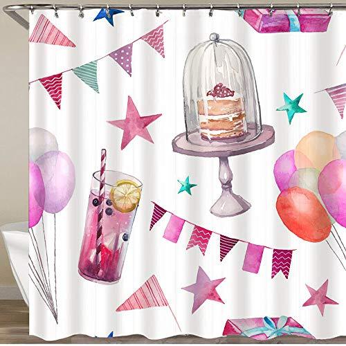 FOURFOOL Duschvorhang,Kuchen Trinken Ballon, der auf einem weißen Hintergr& wartet,Wasserfeste Bad Vorhang aus Polyestergewebe mit 12 Haken Duschvorhang 180x180cm