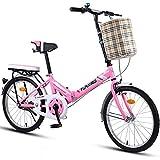 ASYKFJ Bicicleta plegable plegable de 20 pulgadas para hombres y mujeres, bicicleta plegable ligera para adultos, portátil, freno de disco doble (color: rosa)