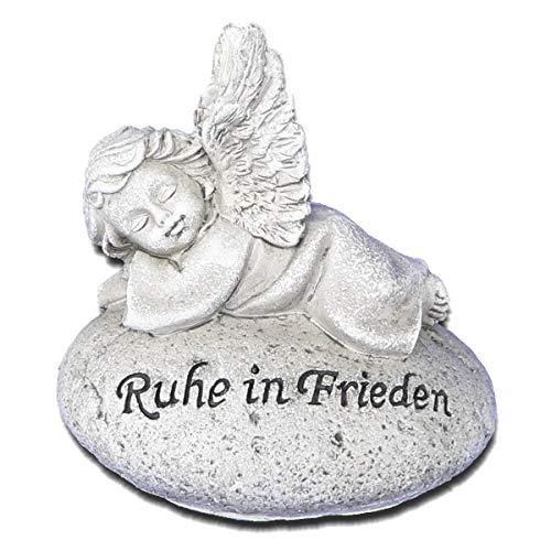 Goldbach Grabschmuck Engel auf Stein Grabengel Wetterfest Ruhe in Frieden Grabstein Deko