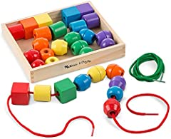 BRIGHTLY COLORED WOODEN BEADS: The Melissa & Doug Primary Lacing Beads set is composed of 30 brightly colored wooden beads in a variety of shapes, 2 colorful laces, and a wooden storage case. EASY TO ASSEMBLE: Our wooden bead play set includes beads ...