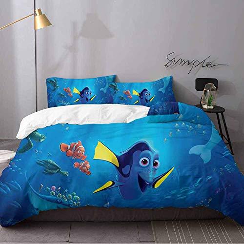 WomHouse Juego de ropa de cama de 3 piezas, diseño de Buscando a Dory, 1 edredón, 2 fundas de almohada de 3 piezas, tamaño King