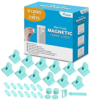 Baby Proofing Magnetic Cabinet Locks - Child Safety VMAISI 12 Pack Children Proof Cupboard Baby Latches - Adhesive Magnet Drawers Locks No Drilling (Blue)