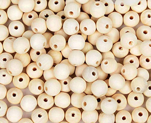 300pcs 20mm Wood Beads Natural Unfinished Round Wooden Loose Beads Wood Spacer Beads for Craft Making Decorations and DIY Crafts