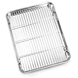 Bastwe Baking Sheet and Cooling Rack Set, Stainless Steel Commercial Grade Cookie Sheet and Rack...
