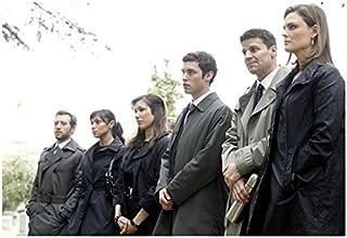 Bones David Boreanaz, Emily Deschanel and Cast Standing in Coats 8 x 10 inch photo