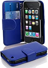 Cadorabo Case Works with Apple iPhone 3 / iPhone 3GS in Navy Blue (Design Book Structure) – with 2 Card Slots – Wallet Case Etui Cover Pouch Flip
