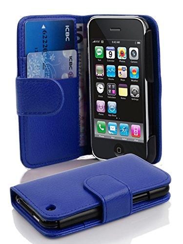 Cadorabo Hülle für Apple iPhone 3 / iPhone 3GS - Hülle in KÖNIGS BLAU – Handyhülle mit Kartenfach aus struktriertem Kunstleder - Case Cover Schutzhülle Etui Tasche Book Klapp Style