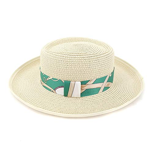SGJFZD Paja del Verano de Las Mujeres del Sombrero de Sun Cubierta Plana Sombrero de Copa for Las Mujeres de Paja Sombrero de la Playa de Toallas Jazz Gorra for el Sol