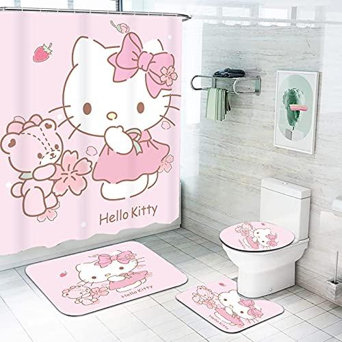 Fgolphd Cartoons Hello Kitty Duschvorhang 180x200180x180 Anime Hello Kitty Pink Bunt Shower CurtainsWasserdicht Badezimmerteppich 4-teiliges Set (180 * 180,15)