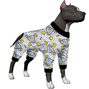 LovinPet Large Dog Shirt/Sleepytime Elephants Prints/Post Surgery Dog Shirt/Wound Care for Large Dog Onesies/Lightweight Pullover, Full Coverage Large Breed Dog Pjs