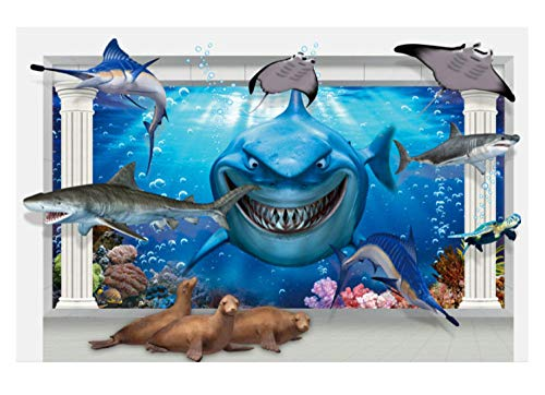 Wall Sticker/3D Underwater World Shark Wall Stickers/DIY Children's Room Beautification Decoration Stickers/PVC Removable Waterproof Stickers