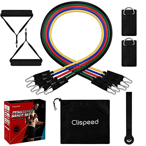 CLISPEED 11PCS Resistance Bands Set Stackable Practical Durable Fitness Pull Rope Workout Bands for Women Gymnastics