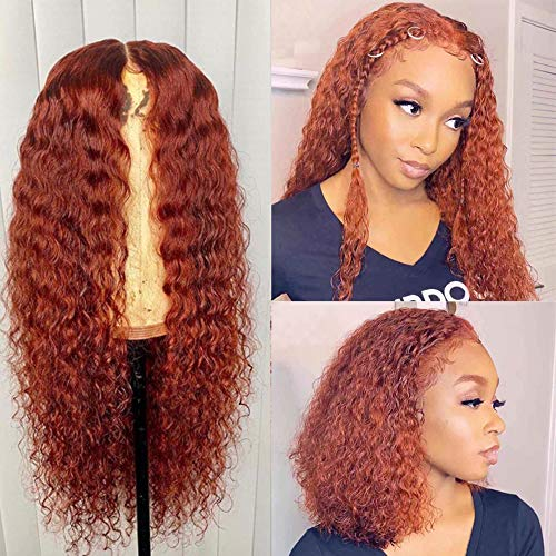 XSZM Warm Orange Red Curly T-Type Lace Front Wigs Human Hair Pre Plucked With Baby Hair Brazilian Virgin Middle Hairline Kinky Curly Machine Made Wig for Black Women(150% Density, 20Inch)
