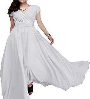 d1c28426cf9 KLJR-Women Casual Solid Short Sleeve Chiffon V-Neck Loose Swing Evening  Maxi Dress