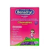 Benadryl Children's Allergy Grape Chewables, 20 Count Per Box (10 Pack)
