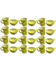 Kids Trends Smiley Bowl Gift Set of Bowl & Mug for,Return Gifts for Kids Birthday Party,Non toxic Plastic(Yellow,Pack of 12)