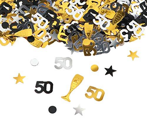 50. Geburtstag Jubiläum Konfetti Gold Silber Schwarz Sterne Punkte Weinglas Tisch Deko für Hochzeit Feier Jubiläum Deko über 500 Stück