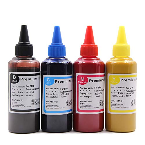 Topcolor 400ML Sublimation Ink Refill Bottles Compatible with Inkjet Printers WF-7710 ET-2720 ET-15000 WF-3640 WF-7110 WF-7210 WF3610 C88 for Heat Transfer on Mugs, Polyester Shirts, etc