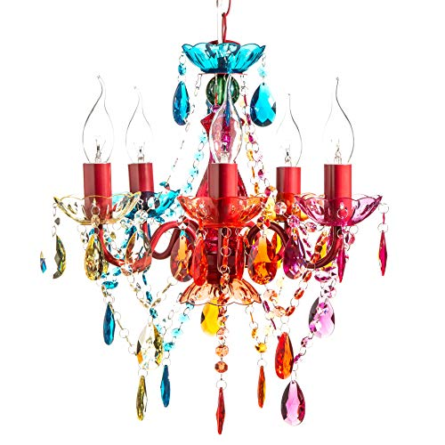 DESIGN LAMPADARIO 'POMP' | multicolore, acrilico, 5 lumi, Ø 40 cm | stile retrò