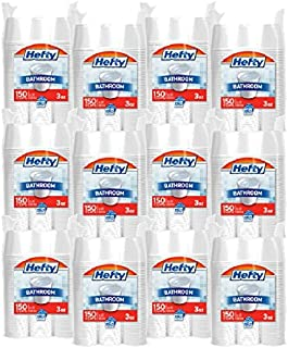 Hefty Plastic Bathroom Cups (White, 3 Ounce, 150 Count, Pack of 12)