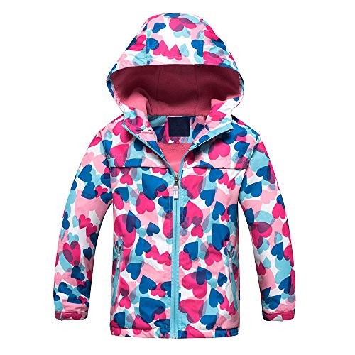 Echinodon Mädchen Jacke mit Fleecefütterung warm wasserdicht Winddicht atmungsaktiv Kinder Regenjacke Übergangsjacke Wanderjacke Trekkingjacke 140