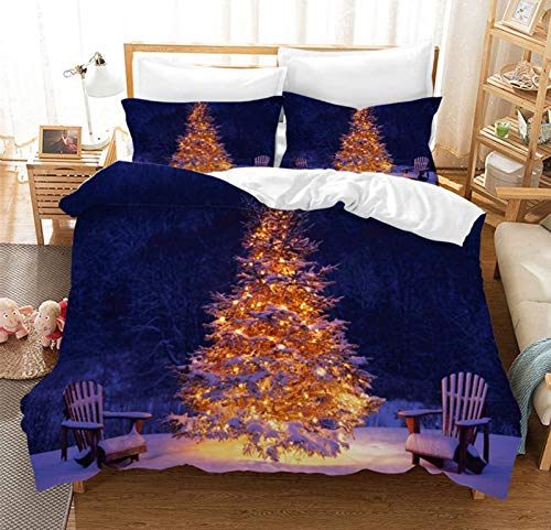 ADAK 3Pcs Christmas Bedding Christmas Tree Pattern Navy Blue Kids Xmas Duvet Cover Sets King Size,1 Duvet Cover+ 2 Pillow Cases