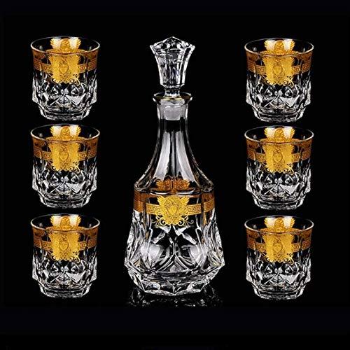 Whisky Decanter Glass Decanter 820 ml y 6 gafas 300 Mlcrystal Glass Whisky Cup Copa Creativa Traje de Vino Rojo vasos cristal WUTONG