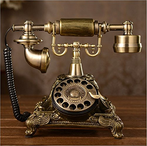 Tikwisdom Resin imitation copper Vintage Style Rotary Retro old fashioned Rotary Dial Home and office Telephone Phone Home Living Room Decor