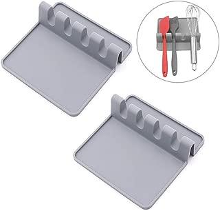 HouseHoo Kitchen Utensil Rest, Spoon Rest, Silicone Utensil Rest and Spoon Holder, Utensil Holder for Kitchen Set of 2 in Gray