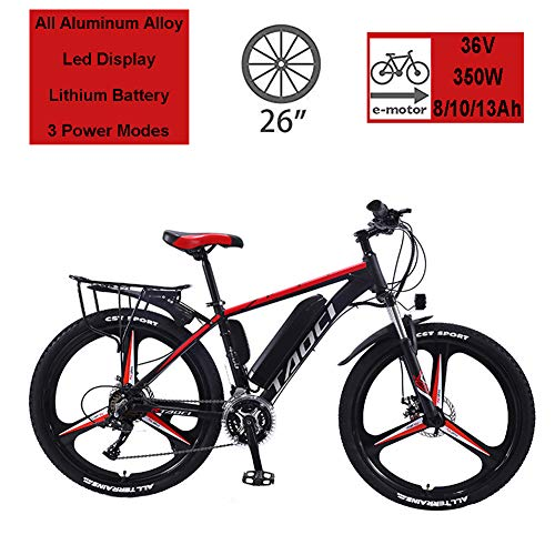 "Hyuhome Electric Bikes for Adult, Magnesium Alloy Ebikes Bicycles All Terrain,26"" 36V 350W 13Ah Removable Lithium-Ion Battery Mountain Ebike for Mens,Red,13Ah80Km"