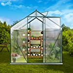 JULY'S SONG Greenhouse,Polycarbonate Walk-in Plant Greenhouse with Window for Winter,Garden Green House Kit for Backyard… 9 【EXTEND THE GROWING SEASON】Perfect for a first-time or seasoned home gardener, JULY'S SONG walk-in greenhouses protect plant against rough weather. You can make sure that your plants are healthy and happy all year round. 【STURDY & DURABLE】This DIY Greenhouse Kit is made of 4mm twinwall UV/wind resistant polycarbonate panels and thickened premium aluminum frame,all this together with heavy-duty galvanized base help provide solid support for your entire plant nursery. 【MULTI-FUNCTION DESIGN】The greenhouse for outdoor has sliding doors for easy access, roof vent for effortless ventilation, and rain gutters for effective drainage of water and snow.