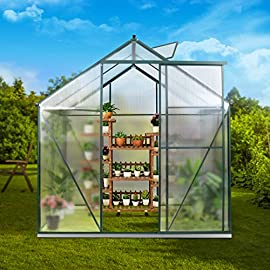 JULY'S SONG Greenhouse,Polycarbonate Walk-in Plant Greenhouse with Window for Winter,Garden Green House Kit for Backyard/Outdoor Use(4'x6') 8 【EXTEND THE GROWING SEASON】Perfect for a first-time or seasoned home gardener, JULY'S SONG walk-in greenhouses protect plant against rough weather. You can make sure that your plants are healthy and happy all year round. 【STURDY & DURABLE】This DIY Greenhouse Kit is made of 4mm twinwall UV/wind resistant polycarbonate panels and thickened premium aluminum frame,all this together with heavy-duty galvanized base help provide solid support for your entire plant nursery. 【MULTI-FUNCTION DESIGN】The greenhouse for outdoor has sliding doors for easy access, roof vent for effortless ventilation, and rain gutters for effective drainage of water and snow.
