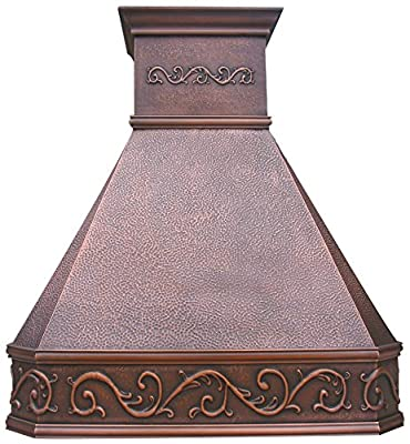 Antique Copper Range Hood with Stack Traditional Design Handcrafted by Sinda Copper H14BA